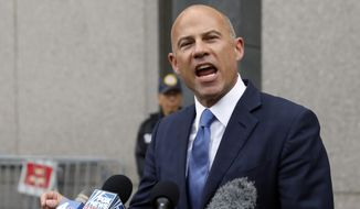 In this Tuesday, July 23, 2019, photo, Michael Avenatti makes a statement to the press as he leaves federal court, in New York. A California judge has declared a mistrial in the embezzlement trial of attorney Avenatti, who is charged with stealing millions in settlement money from his clients. Judge James Selna ruled on technical grounds that federal prosecutors failed to turn over relevant financial evidence to Avenatti. (AP Photo/Richard Drew) **FILE**