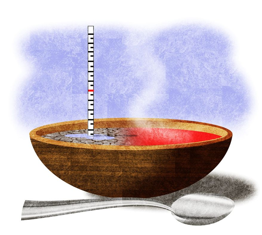 Illustration on  drought's impact on food supplies by Alexander Hunter/The Washington Times