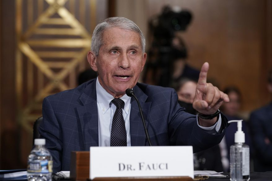 In this file photo, Dr. Anthony Fauci testifies before the Senate Health, Education, Labor, and Pensions Committee, on Capitol Hill in Washington, Tuesday, July 20, 2021. (AP Photo/J. Scott Applewhite, Pool) ** FILE **
