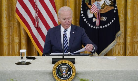 President Joe Biden attends a meeting about cybersecurity, in the East Room of the White House, Wednesday, Aug. 25, 2021, in Washington. (AP Photo/Evan Vucci)