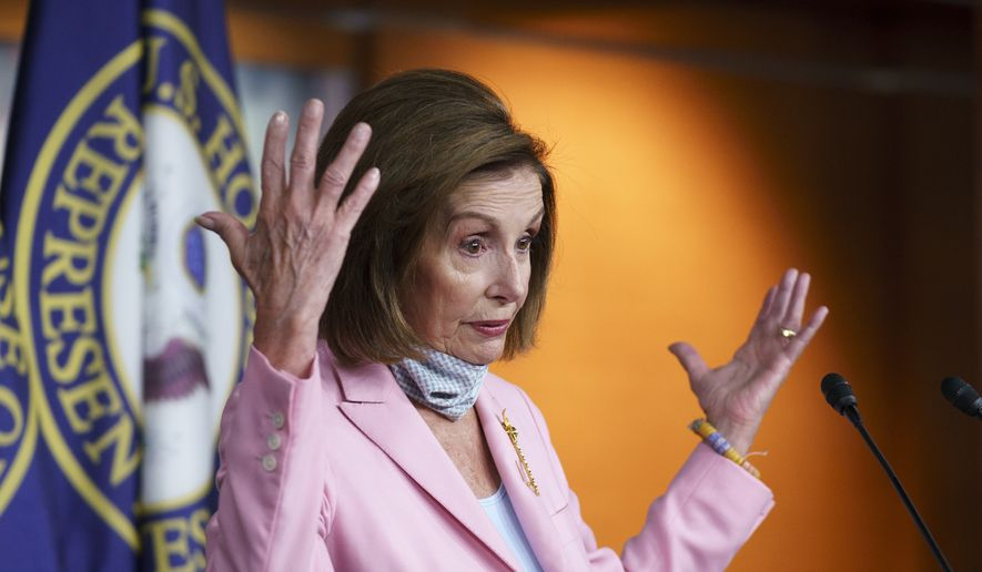 In this file photo, Speaker of the House Nancy Pelosi, D-Calif., meets with reporters at the Capitol in Washington, Wednesday, Aug. 25, 2021. (AP Photo/J. Scott Applewhite)  **FILE**