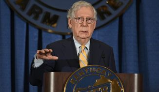 Senate Minority Leader Mitch McConnell of Ky. addresses the audience at the Kentucky Farm Bureau Ham Breakfast at the Kentucky State Fair in Louisville, Ky., Thursday, Aug. 26, 2021. (AP Photo/Timothy D. Easley) **FILE**
