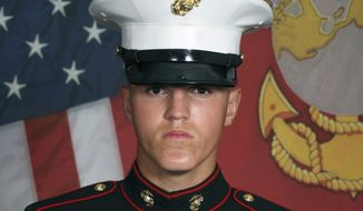 This undated photo released by the 1st Marine Division, Camp Pendleton/U.S. Marines shows Marine Corps Lance Cpl. Rylee J. McCollum, 20, of Jackson, Wyo Eleven Marines, one Navy sailor and one Army soldier were among the dead, while 18 other U.S. service members were wounded in Thursday Aug. 26, bombing, which was blamed on Afghanistan's offshoot of the Islamic State group. (U.S. Marines via AP)