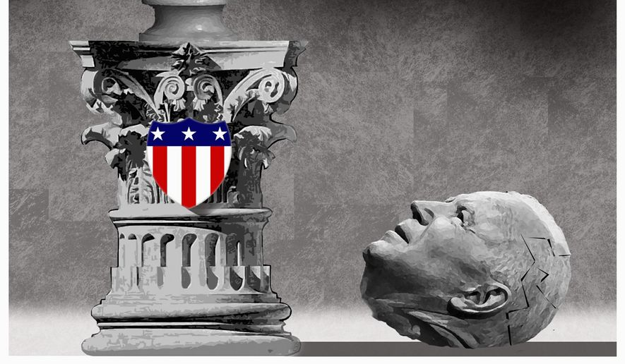 Illustration on Bidena and the importance of voting for good leadership by Alexander Hunter/The Washington Times