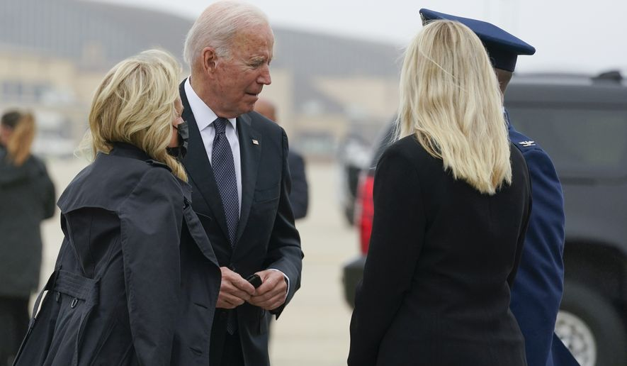 President Joe Biden and first lady Jill Biden arrive to board Air Force One at Andrews Air Force Base, Md., for a trip to Dover Air Force Base, Del., Sunday, Aug. 29, 2021. (AP Photo/Manuel Balce Ceneta)