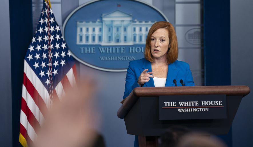 White House press secretary Jen Psaki speaks during a press briefing at the White House, Monday, Aug. 30, 2021, in Washington. (AP Photo/Evan Vucci)