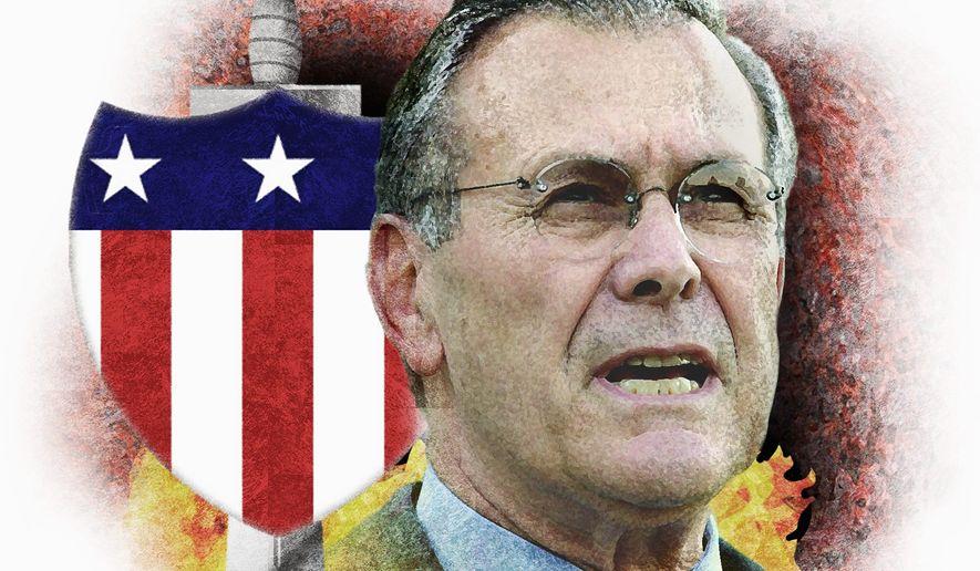 Illustration on Donald Rumsfeld by Alexander Hunter/The Washington Times