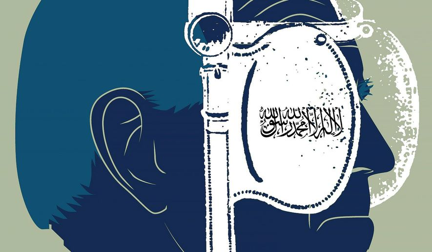Illustration on Biden and radical Islam by Linas Garsys/The Washington Times