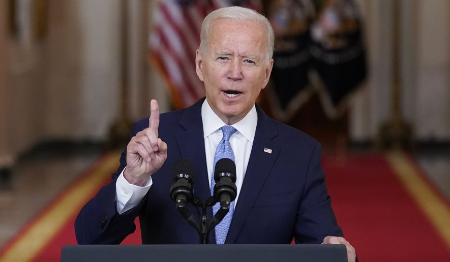 President Joe Biden speaks about the end of the war in Afghanistan from the State Dining Room of the White House, Tuesday, Aug. 31, 2021, in Washington. (AP Photo/Evan Vucci)