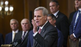 House Minority Leader Kevin McCarthy, R-Calif., speaks at the Capitol in Washington, Tuesday, Aug. 31, 2021. McCarthy and other Republican members of Congress criticized President Joe Biden and House Speaker Nancy Pelosi on the close of the war in Afghanistan. (AP Photo/J. Scott Applewhite)