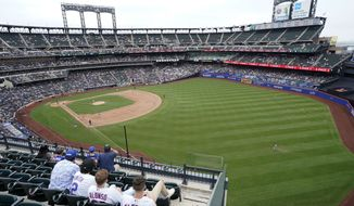 New York Mets fans watch a baseball game against the Washington Nationals during the seventh inning, Sunday, Aug. 29, 2021, in New York. (AP Photo/Corey Sipkin) **FILE**