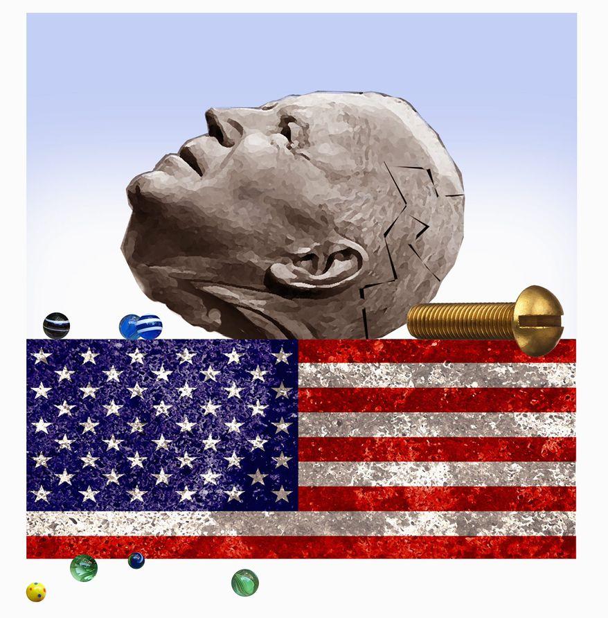 Illustration on Biden's competency by Alexander Hunter/The Washington Times