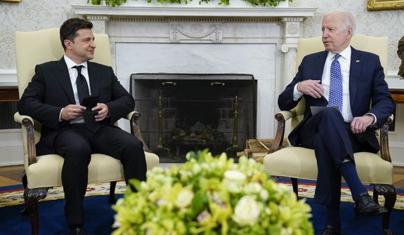 President Joe Biden meets with Ukrainian President Volodymyr Zelenskyy in the Oval Office of the White House, Wednesday, Sept. 1, 2021, in Washington. (AP Photo/Evan Vucci)