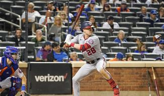 Washington Nationals' Lane Thomas at bat during the seventh inning of a baseball game against the New York Mets, Saturday, Aug. 28, 2021, in New York. (AP Photo/Mary Altaffer) **FILE**