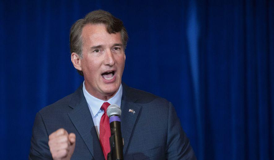 Virginia Republican gubernatorial candidate Glenn Youngkin addresses the Virginia FREE Leadership Luncheon in McLean, Va., Wednesday, Sept. 1, 2021. (AP Photo/Cliff Owen) **FILE**