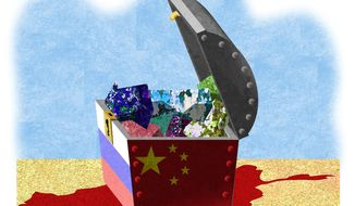 Illustration on China and Russia mineral exploitation in Afghanistan by Alexander Hunter/The Washington Times
