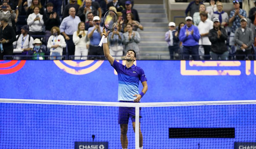 Novak Djokovic, of Serbia, reacts after winning his match against Tallon Griekspoor, of the Netherlands, during the second round of the US Open tennis championships, Thursday, Sept. 2, 2021, in New York. (AP Photo/Frank Franklin II)
