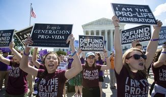 In this June 25, 2018, file photo, pro-life and anti-abortion advocates demonstrate in front of the Supreme Court in Washington. Republican lawmakers in at least a half dozen GOP-controlled states already are talking about copying a Texas law that bans abortions after a fetal heartbeat is detected. The law was written in a way that was intended to avoid running afoul of federal law by allowing enforcement by private citizens, not government officials.  (AP Photo/J. Scott Applewhite, File)