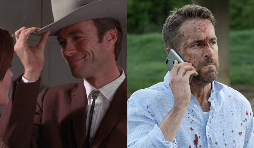 """Clint Eastwood in """"Coogan's Bluff,"""" available on Blu-ray format from Kino Lorber and Ryan Reynolds in """"Hitman's Wife's Bodyguard,"""" available in the 4K Ultra HD format from Lionsgate Home Entertainment."""