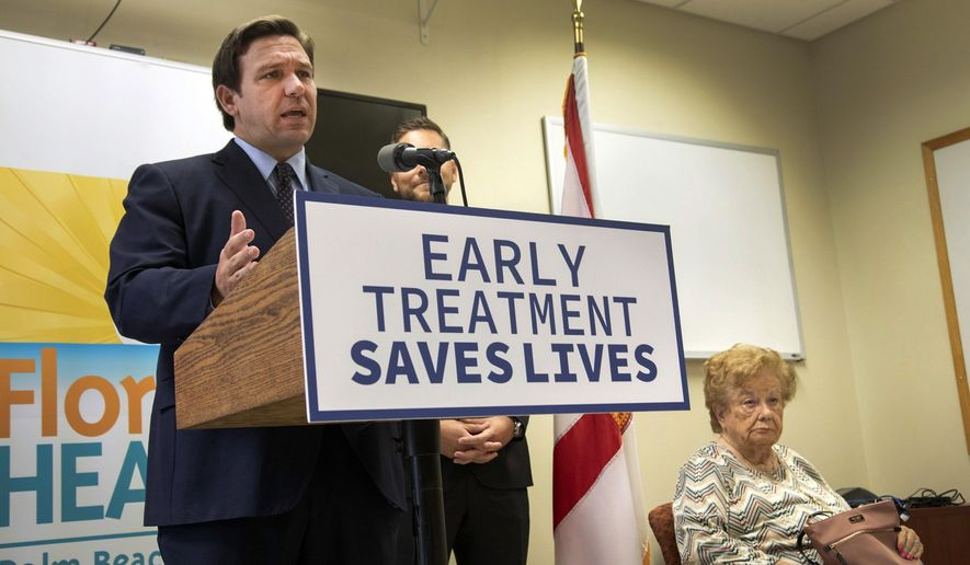Florida Gov. Ron DeSantis promotes monoclonal antibody treatments at the Florida Department of Health office in West Palm Beach, Fla. Thursday, Sept. 2, 2021. (Lannis Waters/The Palm Beach Post via AP)
