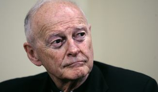 In this May 16, 2006, file photo former Washington Archbishop, Cardinal Theodore McCarrick pauses during a press conference in Washington. (AP Photo/J. Scott Applewhite, File)