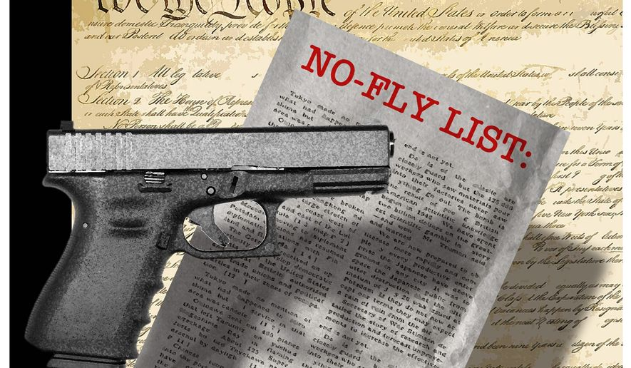 Illustration on Second Amendment rights and the no-fly list by Alexander Hunter/The Washington Times