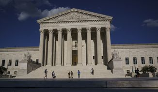This Friday, Sept. 3, 2021, file photo shows the Supreme Court in Washington. (AP Photo/J. Scott Applewhite) ** FILE **