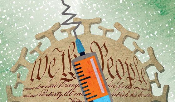 Bent COVID-19 Vaccination Needle Illustration by Greg Groesch/The Washington Times