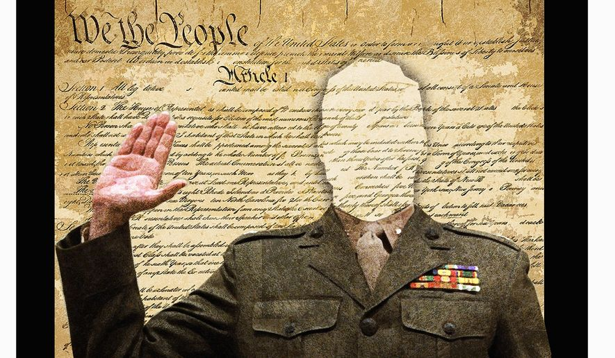 Illustration on the character content of the U. S. military soldiers under Biden by Alexander Hunter/The Washington Times