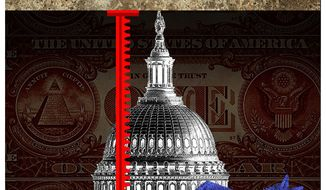 Illustration on raising the debt ceiling by Alexander Hunter/The Washington Times