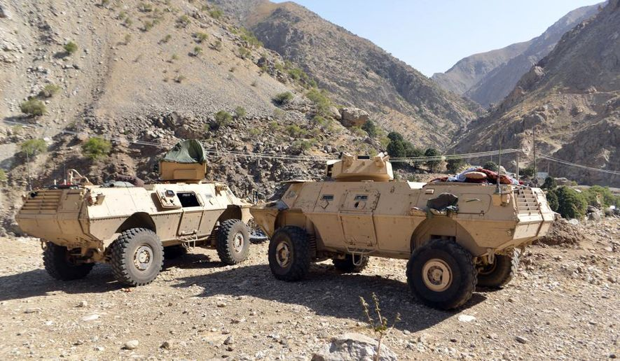 In this Aug. 25, 2021, photo, armored vehicles are seen in Panjshir Valley, north of Kabul, Afghanistan. The Taliban said Monday, Sept. 6, 2021, they have taken control of Panjshir province north of Kabul, the Afghan capital. The province was the last holdout of anti-Taliban forces in the country and the only province the Taliban had not seized during their sweep last month. (AP Photo/Jalaluddin Sekandar)