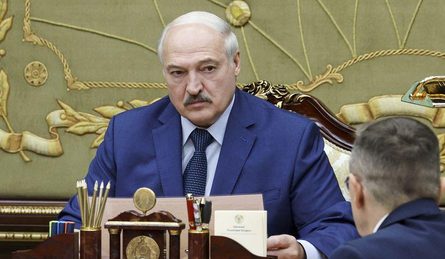 Belarusian President Alexander Lukashenko speaks during a meeting in Minsk, Belarus, Monday, Sept. 6, 2021. (Nikolay Petrov/BelTA Pool Photo via AP)