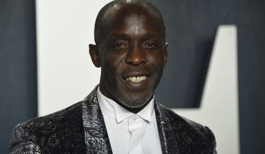 In this Sunday, Feb. 9, 2020, photo, Michael K. Williams arrives at the Vanity Fair Oscar Party in Beverly Hills, Calif. Williams, who played the beloved character Omar Little on The Wire, has died. New York City police say Williams was found dead Monday, Sept. 6, 2021, at his apartment in Brooklyn. He was 54. (Photo by Evan Agostini/Invision/AP) **FILE**
