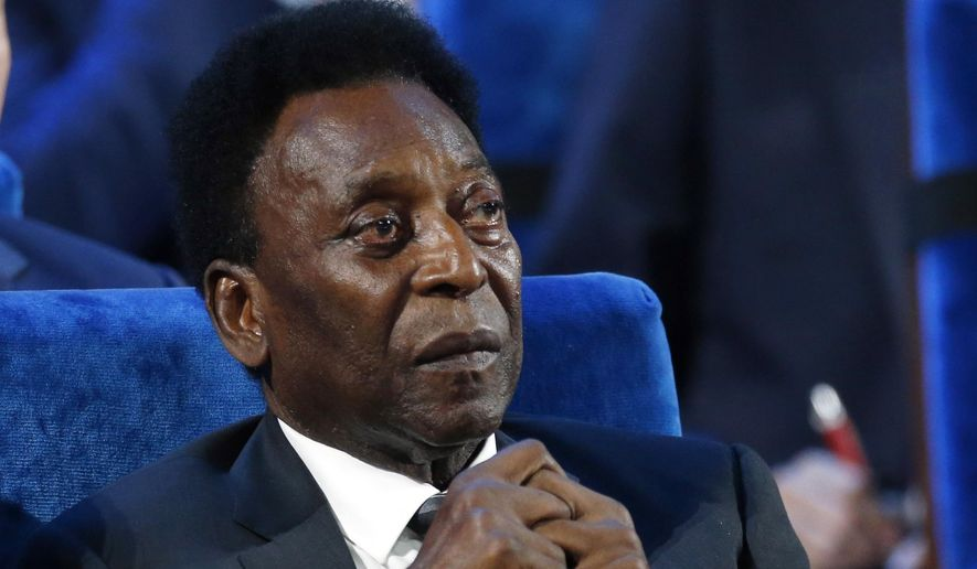 In this Dec. 1, 2017 file photo, Brazilian soccer legend Pele attends the 2018 soccer World Cup draw in the Kremlin in Moscow. On his social media accounts, Pele said on Monday, Sept. 6, 2021 that an apparent tumor on the right side of his colon had been removed in an operation. (AP Photo/Alexander Zemlianichenko, File) **FILE**