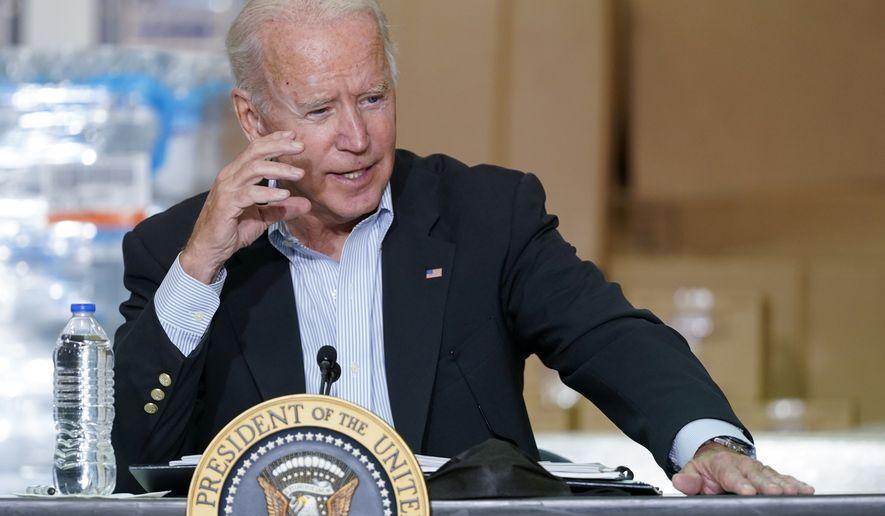 President Joe Biden speaks during a briefing about the impact of Hurricane Ida, Tuesday, Sept. 7, 2021, in Hillsborough Township, N.J. (AP Photo/Evan Vucci)