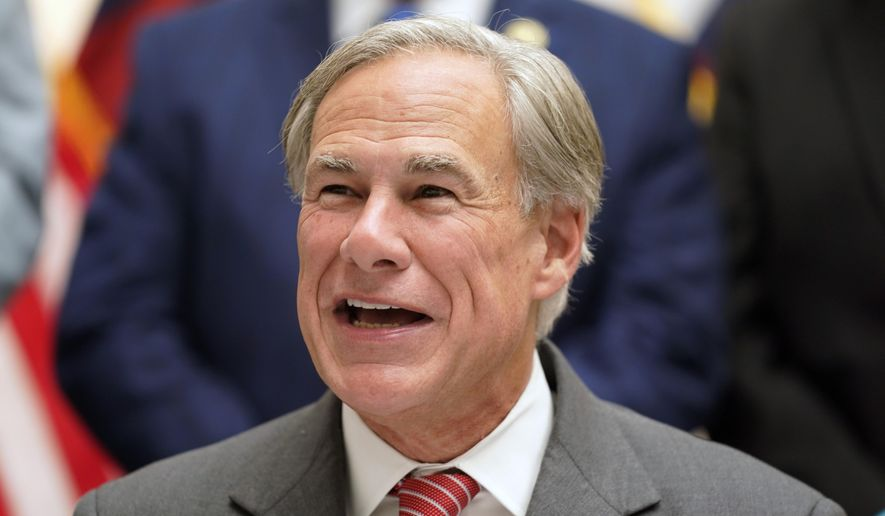 Texas Gov Greg Abbott speaks before signing Senate Bill 1, also known as the election integrity bill, into law in Tyler, Texas, Tuesday, Sept. 7, 2021. (AP Photo/LM Otero) ** FILE **