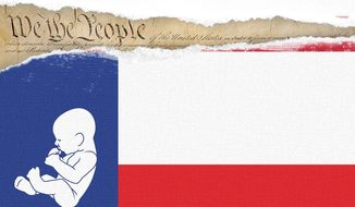 Texas Abortion Law Illustration by Linas Garsys/The Washington Times