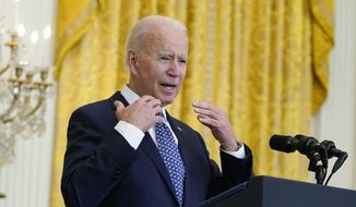 President Joe Biden speaks during an event to celebrate labor unions, in the East Room of the White House, Wednesday, Sept. 8, 2021, in Washington. (AP Photo/Evan Vucci) **FILE**