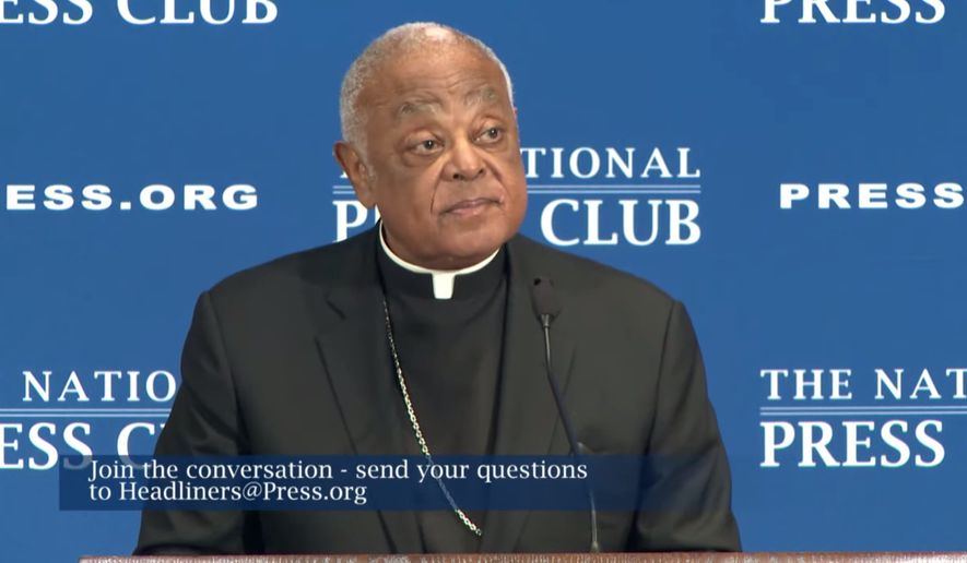 """Cardinal Wilton Gregory, Roman Catholic Archbishop of Washington, D.C., said President Biden """"is not demonstrating Catholic teaching"""" if the chief executive no longer believes church teaching that life begins at conception. (Screen capture from National Press Club livestream.)"""