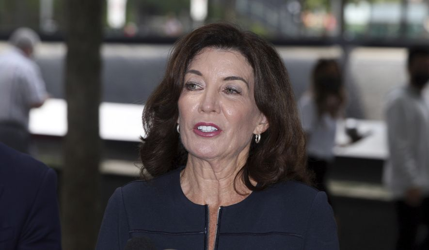 New York Gov. Kathy Hochul speaks with the media after visiting the 9/11 Memorial in New York on Wednesday, September 8, 2021. (AP Photo/Ted Shaffrey) ** FILE **