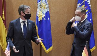 Secretary of State Antony Blinken, left, and German Foreign Minister Heiko Maas, meet at Ramstein Air Base in south-western Germany, Wednesday, Sept. 8, 2021. (Olivier Douliery/Pool via AP)