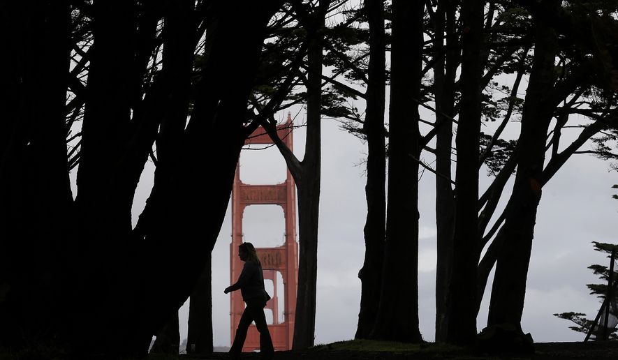 A woman walks under trees at the Golden Gate Overlook in the Presidio with a tower of the Golden Gate Bridge shown at rear in San Francisco, Friday, Oct. 28, 2016. A Pacific storm spread needed rain to much of California on Friday, causing traffic snarls but no immediate trouble for communities near slopes left barren by wildfires. (AP Photo/Jeff Chiu)