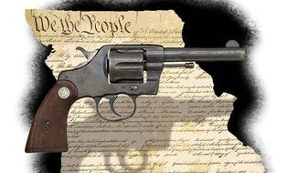 Illustration on Missouri's Second Amendment protection law by Alexander Hunter/The Washington Times