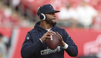 Dallas Cowboys quarterback Dak Prescott (4) during pregame warm ups before a NFL football game against the Tampa Bay Buccaneers on Thursday, Sept 9, 2021 in Tampa, Fla. (AP Photo/Don Montague)