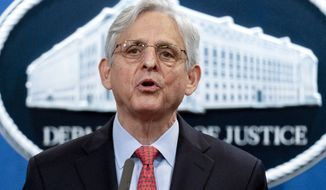 In this Aug. 5, 2021, photo, Attorney General Merrick Garland speaks at a news conference at the Department of Justice in Washington. (AP Photo/Andrew Harnik) **FILE**