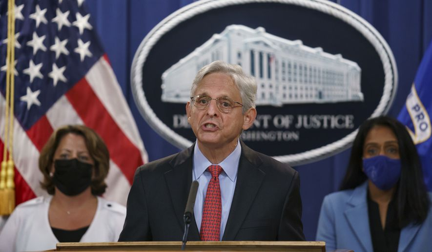 Attorney General Merrick Garland announces a lawsuit to block the enforcement of a new Texas law that bans most abortions, at the Justice Department in Washington, Thursday, Sept. 9, 2021. (AP Photo/J. Scott Applewhite) **FILE**