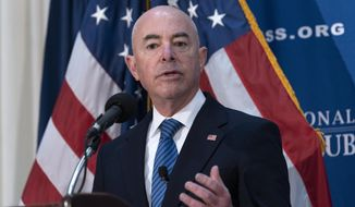 Secretary of Homeland Security Alejandro Mayorkas speaks during a news conference at The National Press Club in Washington, on Thursday, Sept. 9, 2021. (AP Photo/Jose Luis Magana) ** FILE **
