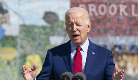 President Joe Biden speaks at Brookland Middle School, Friday, Sept. 10, 2021 in Washington. Biden has encouraged every school district to promote vaccines, including with on-site clinics, to protect students as they return to school amid a resurgence of the coronavirus. (AP Photo/Manuel Balce Ceneta) **FILE**