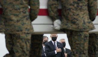 President Joe Biden watches as a carry team moves a transfer case containing the remains of Marine Corps Lance Cpl. Kareem M. Nikoui, 20, of Norco, Calif., during a casualty return Sunday, Aug. 29, 2021, at Dover Air Force Base, Del. According to the Department of Defense, Nikoui died in an attack at Afghanistan's Kabul airport, along with 12 other U.S. service members. (AP Photo/Carolyn Kaster) **FILE**