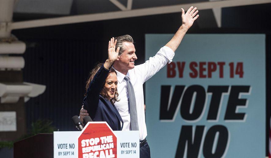 Vice President Kamala Harris joins California Gov. Gavin Newsom at a rally against the California gubernatorial recall election on Wednesday, Sept. 8, 2021, in San Leandro, Calif. (AP Photo/Noah Berger) ** FILE **